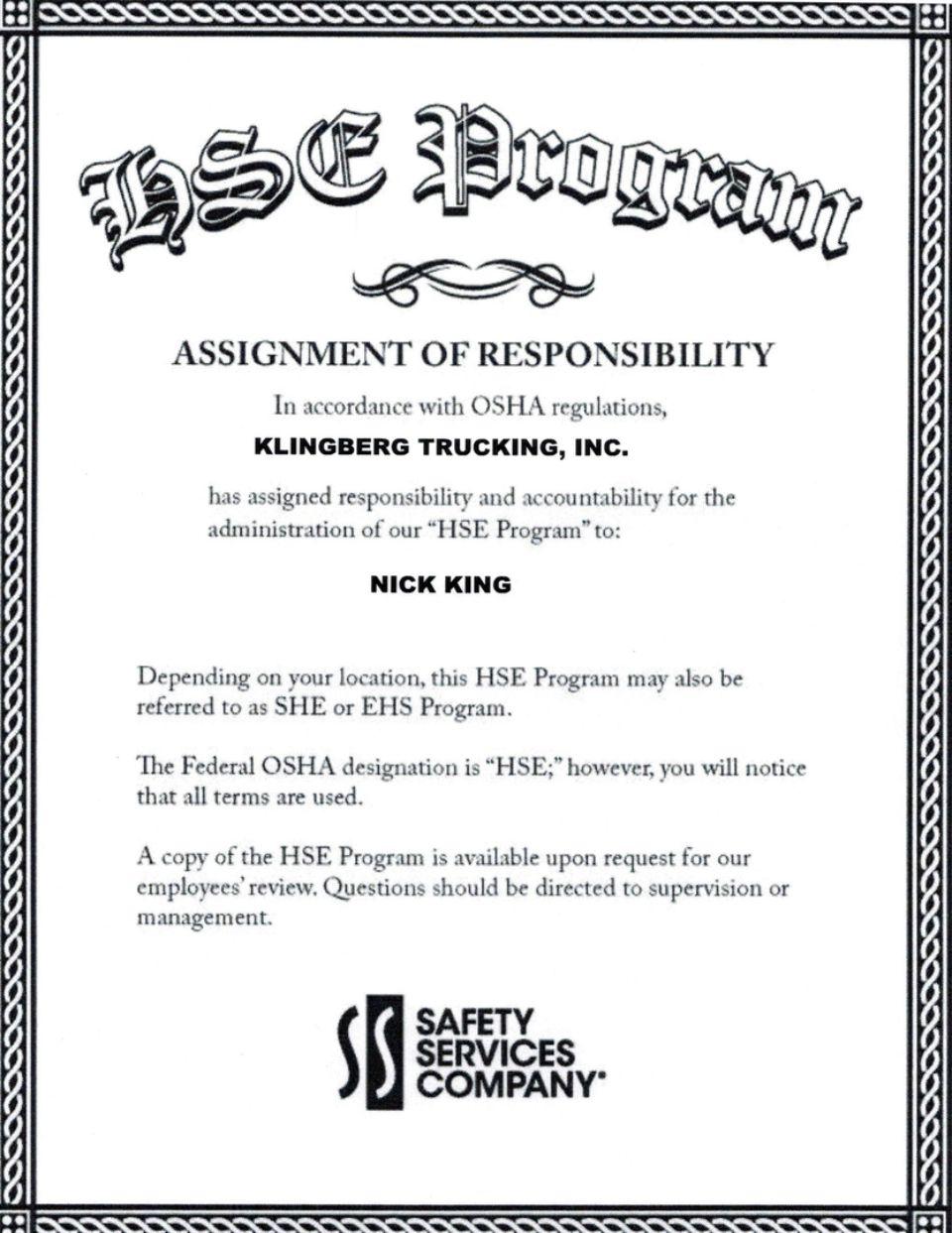 OSHA HSE Program Certified